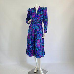 Vintage Cindy Blue Flower Dress Size S